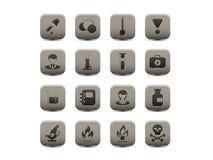 Chemische grijze pictogrammen Stock Afbeeldingen