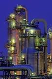 Chemische installatie bij nacht Stock Foto's