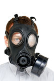 Chemische oorlogvoering - mens met gasmask Stock Foto