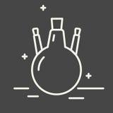 Chemische Rundkolbenvektorlinie Ikone Chemisches Laborausstattungsvektorzeichen Illustration der wissenschaftlichen Forschung Ent Lizenzfreie Stockfotos