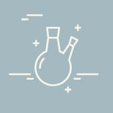 Chemische Rundkolbenvektorlinie Ikone Chemisches Laborausstattungsvektorzeichen Illustration der wissenschaftlichen Forschung Ent Stockbild