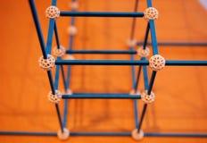 Chemische structuren plakkend stock afbeeldingen