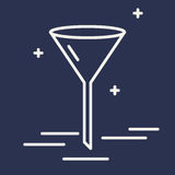 Chemische Trichtervektorlinie Ikone Chemisches Laborausstattungszeichen Illustration der wissenschaftlichen Forschung Gestaltungs Lizenzfreie Stockbilder
