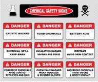 Chemische veiligheidstekens, divers gevaarsteken stock illustratie