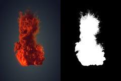 Chemische wolk van oranje rook die zich bij het zwarte 3d teruggeven mengen als achtergrond Stock Fotografie