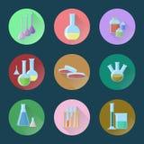 Chemischer Glaswarensatz Ikonen Stockfoto