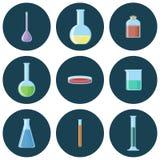 Chemischer Glaswarensatz Ikonen Stockfotografie