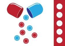 Chemischer Reagenzglas- und Pillenikonenillustrationsvektor Lizenzfreie Stockbilder