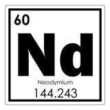 Chemisches Element des Neodyms Stockbild