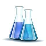 Chemisches Labortransparente Flaschen mit Blau vektor abbildung