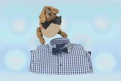 Chemise à carreaux blanche bleue d'enfants avec le noeud papillon et le chien drôle Photographie stock