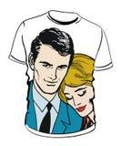 Chemise avec l'illustration de couples Photos libres de droits