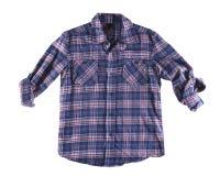 Chemise bleue et rouge d'isolement Images stock