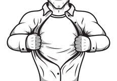 Chemise comique d'ouverture de héros illustration libre de droits