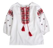Chemise ornated traditionnelle ukrainienne ethnique d'isolement images stock