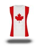 Chemise sans manche sportive avec le drapeau de Canada sur le fond et l'ombre blancs Photos libres de droits