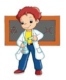 Chemist. Colored illustration of a chemist that produces an experiment stock illustration