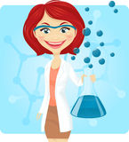 Chemist. Cheerful woman holding test tube with blue liquid Stock Photo
