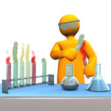 Chemist. Orange cartoon character as chemist with test tubes royalty free illustration
