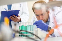 Chemist checking liquid from test tube Stock Photos