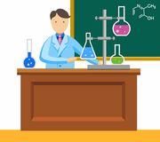 Chemist, chemical experience, coloured picture. Chemistry teacher shows chemical experience. Vector picture Stock Photo