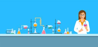 Chemist in chemical laboratory vector background. Chemist in chemical laboratory. Flat vector background. Cartoon horizontal banner. Woman scientist in white royalty free illustration