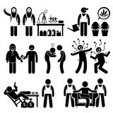 Chemist cooking Illegal Drug Lord Business Syndicate Gangster Stick Figure Pictogram Icons. Human pictogram showing illegal drug syndicate cooking meths Royalty Free Stock Images