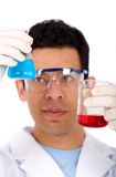 Chemist with a formula Royalty Free Stock Photos