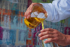 Chemist Fuel Chemical Liquid. Into another glass Stock Image