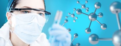 Working on molecular chemistry research royalty free stock photography