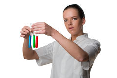 Chemist holding test tubes Royalty Free Stock Photo