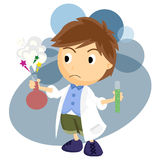 Chemist. That holding two chemical vector illustration