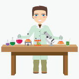 Chemist in the laboratory. Man chemist do experiment in the laboratory royalty free illustration