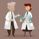 Chemist man, scientist woman with chemical items Stock Image