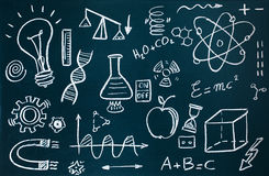 Chemist and mathematical drawings on blackboard background. Handmade chemist and mathematical drawings on blackboard background stock illustration