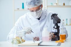The chemist mixing perfumes in the lab Stock Photography