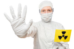 Chemist People Holding A Sign Isolated In Radiation Royalty Free Stock Photos