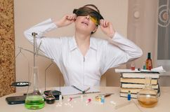 The chemist. The pharmacist. Chemistry lesson. royalty free stock photography