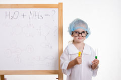 Chemist in points and with two tubes at board Royalty Free Stock Photos