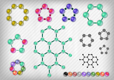 Chemist Set. Chemist elements on the grey background. Vector items royalty free illustration
