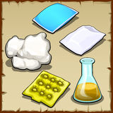 Chemist set of pillows, cotton and flasks Royalty Free Stock Images