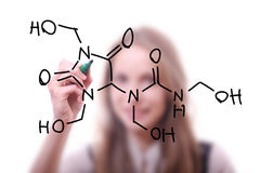Chemist shows a molecular structure Stock Images