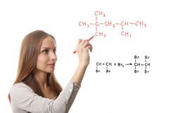 Chemist shows a molecular structure Royalty Free Stock Photography