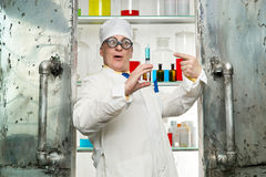 Chemist with syringe Stock Photo