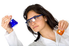 Chemist with test tubes Stock Photos
