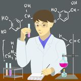Chemist to conduct experiments stock illustration