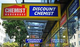 Chemist Warehouse sign above the entrance to the drug store on Oxford Street. Sydney, Australia - October 17, 2017: Chemist Warehouse sign above the entrance to stock photo