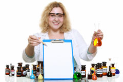 Chemist woman with glassware flask clipboard isolated Stock Photos
