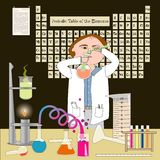 The Chemist. A chemist working in his lab. The Periodic Table of the Elements (artist rendering) is on the wall royalty free illustration