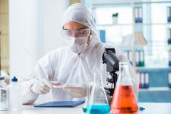 The chemist working in the lab. Chemist working in the lab Royalty Free Stock Photo